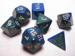 Gemini Blue-Green with Gold (set of 7 dice)