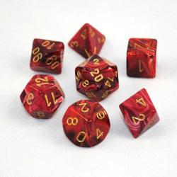 Vortex Burgundy/Gold (set of 7 dice)