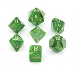 Vortex Green/Gold (set of 7 dice)