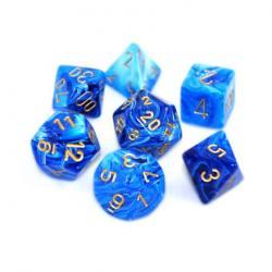 Vortex Blue/Gold (set of 7 dice)