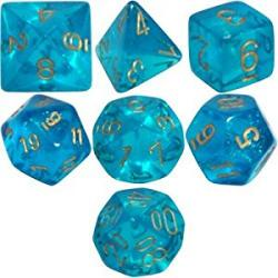 Borealis Teal with Gold (set of 7 dice)
