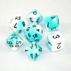 Gemini Teal-White with Black (set of 7 dice)