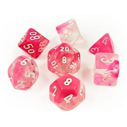 Gemini Clear-Pink/White (set of 7 dice)