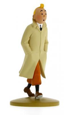 Figur 12 cm resin Tintin med trenchcoat