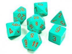 Heavy Turquoise/Orange (set of 7 dice)