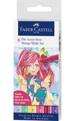 Ritpenna PITT Artist Brush Manga Shojo set 6 pennor