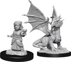 Silver Dragon Wyrmling & Female Halfling