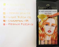 Ritpenna PITT Artist Brush Skin Tones set 6 pennor