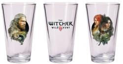 The Witcher 3 Wild Hunt Pint Glass Set Geralt & Triss with Yennefer