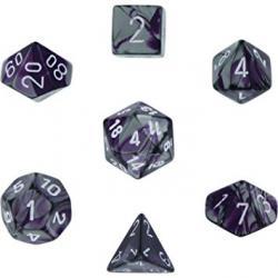 Gemini Purple-Steel with White (set of 7 dice)