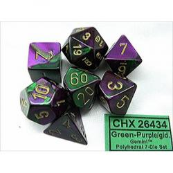 Gemini Green-Purple with Gold (set of 7 dice)