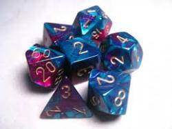 Gemini Purple-Teal with Gold (set of 7 dice)