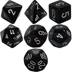 Borealis Smoke and Silver (set of 7 dice)