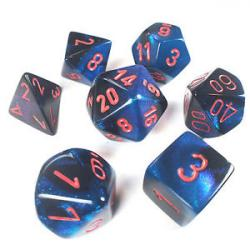 Gemini Black-Starlight with Red (set of 7 dice)