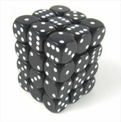 Opaque Black with White Dice Block (36 d6)