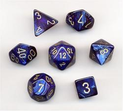 Scarab Royal Blue with Gold (set of 7 dice)