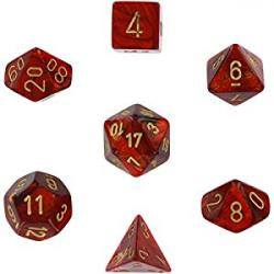 Scarab Scarlet with Gold (set of 7 dice)