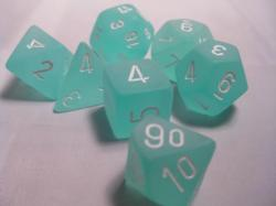 Frosted Teal/white (set of 7 dice)
