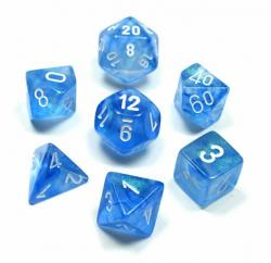 Borealis Sky Blue with White (set of 7 dice)
