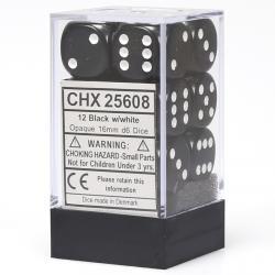 Opaque 16mm d6 Black/White Dice Block (12 d6)
