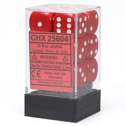 Opaque 16mm d6 Red with White Dice Block (12 d6)