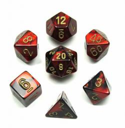 Gemini Black-Red with Gold (set of 7 dice)