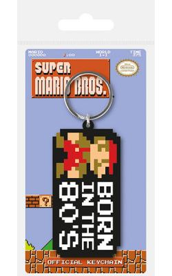 Super Mario Bros. Rubber Keychain Born in the 80's 6 cm