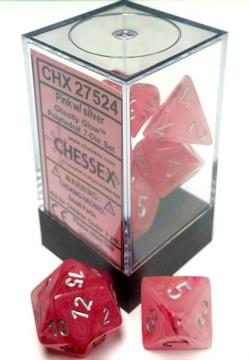 Ghostly Glow Pink/Silver (set of 7 dice)