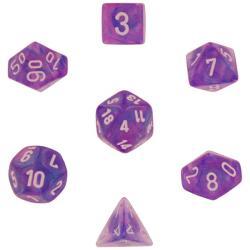 Borealis Purple with White (set of 7 dice)