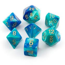 Gemini Blue-Teal with gold (set of 7 dice)