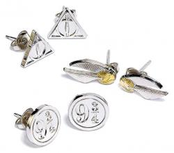 Harry Potter Earrings 3-Pack Snitch/Deathly Hallows/Platform 9 3/4
