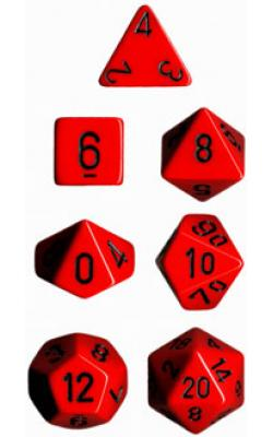 Opaque Red/Black (set of 7 dice)