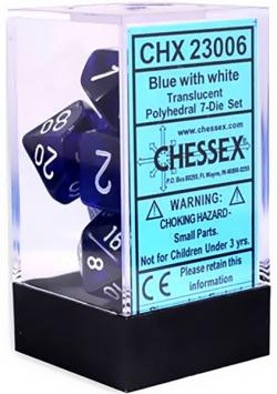 Translucent Blue/White (set of 7 dice)