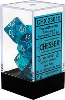 Translucent Teal/White (set of 7 dice)