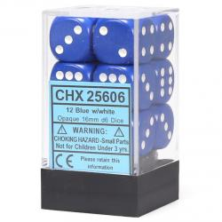 Opaque 16mm d6 Blue with White Dice Block (12 d6)
