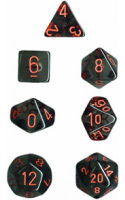 Translucent Smoke/Red (set of 7 dice)