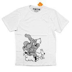 T-Shirt - Vit Tintin och Milou springer XX-Large