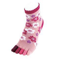 Sakura colorful five-toe socks