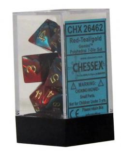 Gemini Red-Teal with Gold (set of 7 dice)