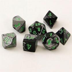Gemini Black-Grey with Green (set of 7 dice)