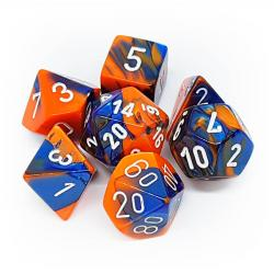 Gemini Blue-Orange with White (set of 7 dice)