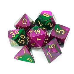 Gemini Green-Yellow with Silver (set of 7 dice)