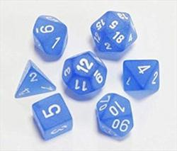 Frosted Blue with White (set of 7 dice)