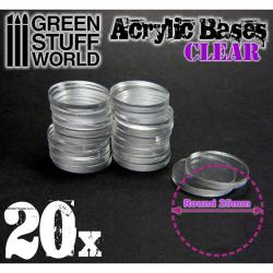 Acrylic Bases - Round 25 mm CLEAR