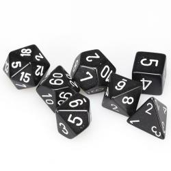 Opaque Black with White (set of 7 dice)