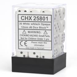 Opaque White with Black Dice Block (36 d6)