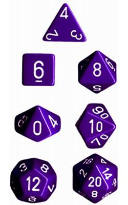 Opaque Purple/White (set of 7 dice)