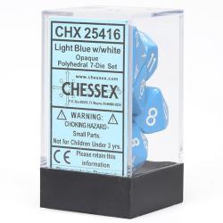 Opaque Light Blue/White (set of 7 dice)