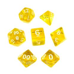 Translucent Yellow/White (set of 7 dice)