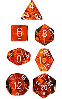Translucent Orange/White (set of 7 dice)
